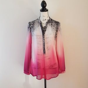 NY Collection Snake Print Ombre Pink Sheer Tunic